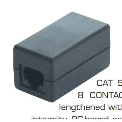Modular Plug, Inline Coupler, Cat5e, RJ45, 8P8C, Black