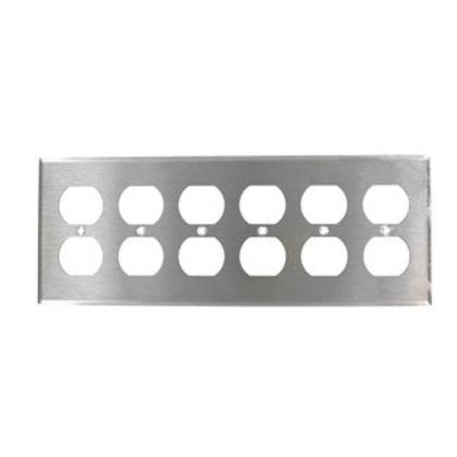 Duplex Receptacle Wallplate, 4-Gang, 302 Stainless Steel