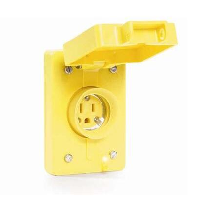 Outlet Box Cover, 1-Gang, Yellow, Watertite