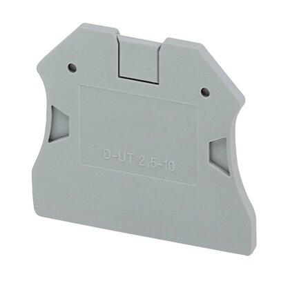Terminal Block, End Cover, for 5.2mm Blocks, Gray, XB Style