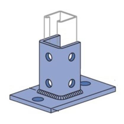 Post Base, Hole Diameter: 9/16 in, Steel, Electro-Galvanized