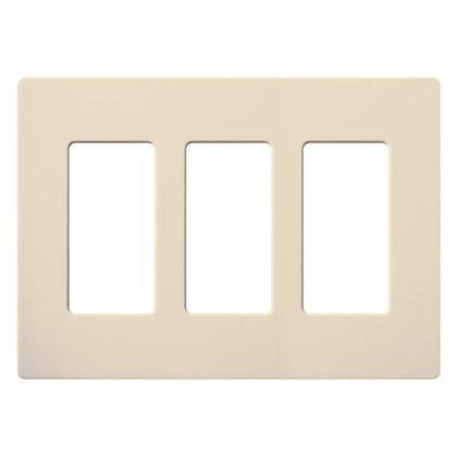 Dimmer/Fan Control Wallplate, 3-Gang, Eggshell