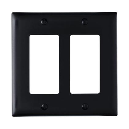 Decora Wallplate, 2-Gang, Nylon, Black
