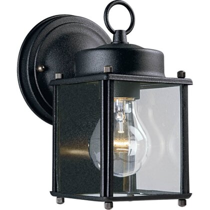 Wall Lantern, Outdoor, 1-Light, 100W, Black