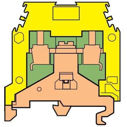 Terminal Block, Ground, 6mm, Type: 4/6.P, Green/Yellow