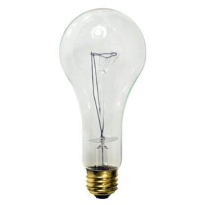Incandescent Bulb, Rough Service, A23, 200W, 130V, Clear