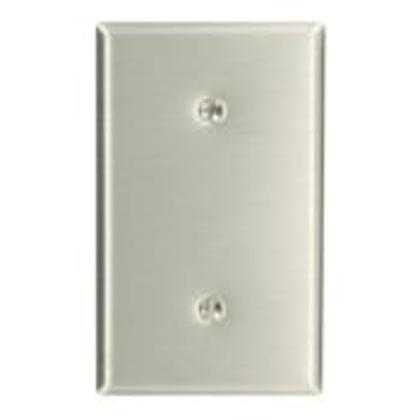 Blank Wallplate, 1-Gang, Stainless Steel, Standard, Strap Mount