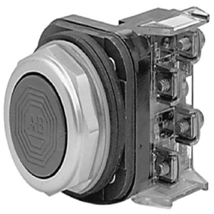 Push Button, Flush Head, Black, 30mm, Momentary, NEMA 4/13
