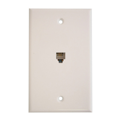 Telephone Wall Jack, 6P4C, 1-Gang, Mid-Size, White