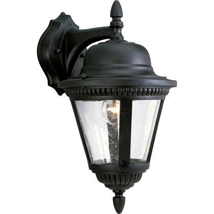 Wall Lantern, Outdoor, 1-Light, 100W, Textured Black