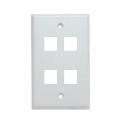 Wallplate, 4-Port, 1-Gang, Keystone, Rear Load, Flush, White