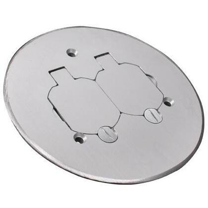 """Round Duplex Receptacle Cover, 5-1/2"""" Diameter, Aluminum"""