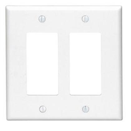 Decora Wallplate, 2-Gang, Thermoset, White, Midway