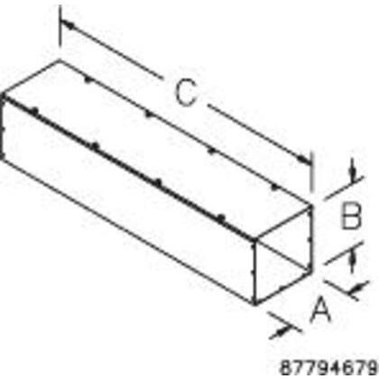 """Wireway, Type 1, Screw Cover, 4"""" x 4"""" x 72"""", Steel, Galvanized, No KOs"""