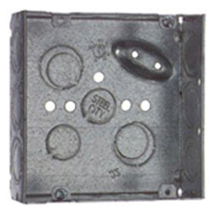 "4"" Square Box, Welded, 2-1/8"" Deep, Steel"