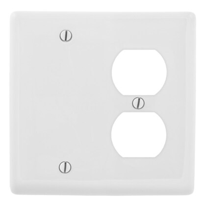 WALLPLATE, 2-G, 1) DUP 1) BLANK, WH
