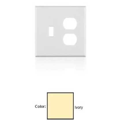 Combo Wallplate, 2-Gang, Toggle/Duplex, Unbreakable, Ivory, Midway *** Discontinued ***