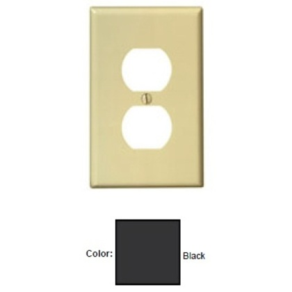 Duplex Receptacle Wallplate, 1-Gang, Nylon, Black, Midway