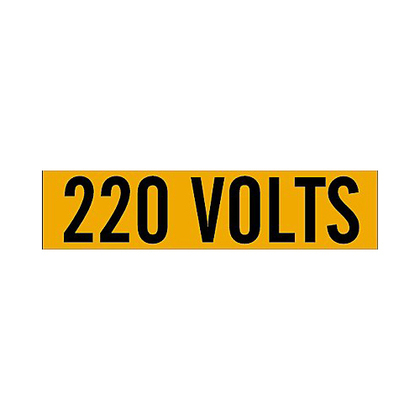 Label,B498,9x2.25,Bk/Or,220 VOLTS,1/CQ
