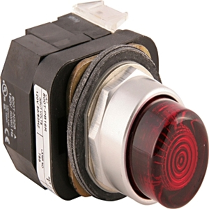 Push Button, Extended Amber Head, 12-130V AC/DC, LED, 30mm