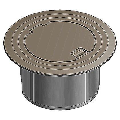 Round Floor Box Cover, Accepts Duplex or GFCI, Brown, Non-Metallic