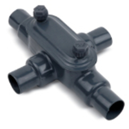 "PVC Coated Conduit Body, Type X, Size: 3/4"", Form 7, Iron/PVC Coated"
