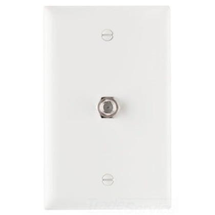 Wall Plate & Connector, F Coaxial, 1 Gang, Steel, White