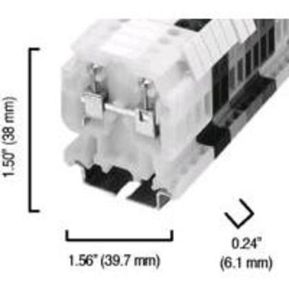 Terminal Block, 35A, 600V AC/DC, Gray, 4mm, Feed Through