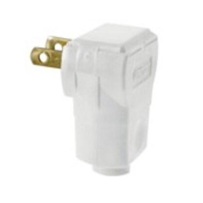15 Amp Easy Wire Angle Plug, 125 Volt, 1-15P, White