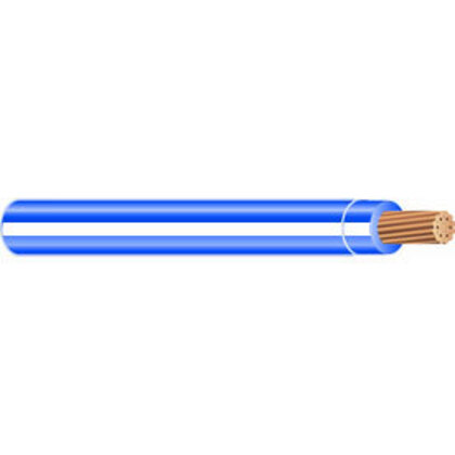12 AWG THHN Solid Copper, White/Blue Stripe, 500'