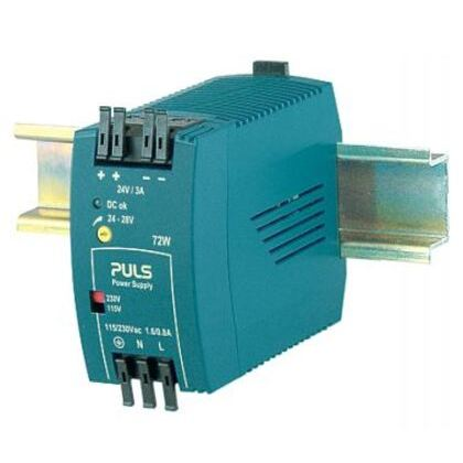 Power Supply, 72W, 3A, 28VDC Output, 240VAC, 290VDC Input, IP20