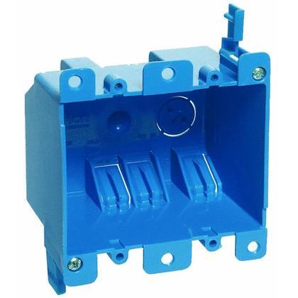 "Switch/Outlet Box, 2-Gang, Depth: 2-3/4"", Ear Brackets, Non-Metallic"