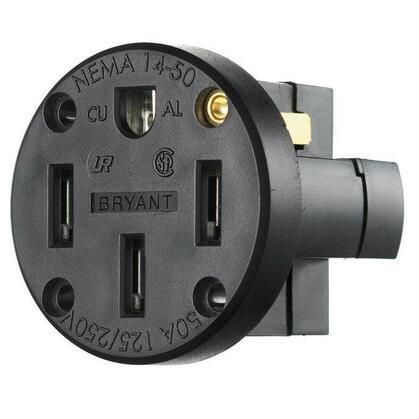 RCPT, SB, 50A 125/250V, 3P4W, PAN MT, BK