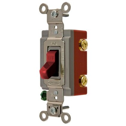 Toggle Switch, 1-Pole, 20A, 120/277V, Red