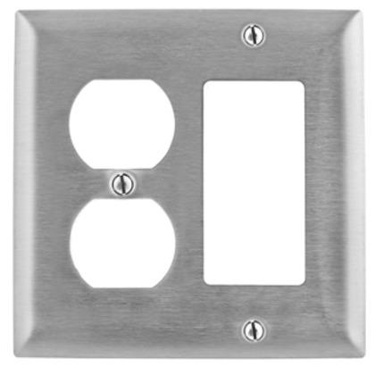 Combo Wallplate, 2-Gang, Duplex/Decora-GFCI, Stainless Steel