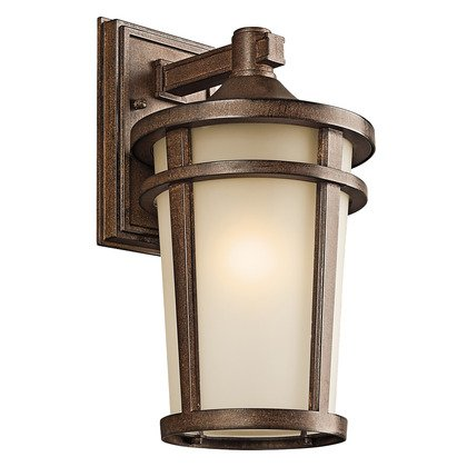 Atwood 1 Light Outdoor Wall Lantern, Brown Stone Finish