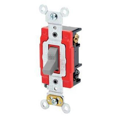 3-Way Toggle Switch, 20A, 120/277V, Gray, Industrial Grade
