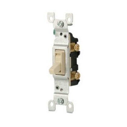 Single-Pole Toggle Switch, 15A, 120VAC, Ivory, Residential Grade