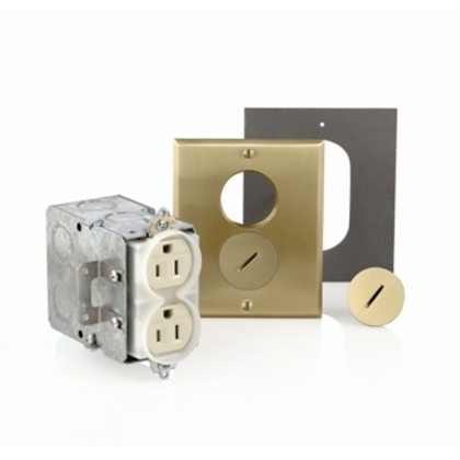 Floor Box Assembly, Includes Duplex Receptacle, Brass Floor Plate