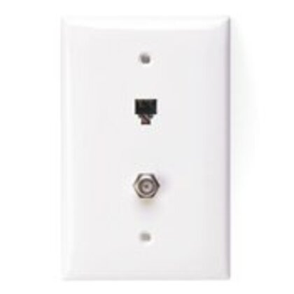 Wall Plate & Connector, F Coaxial and Telephone Jack, 1-Gang, White