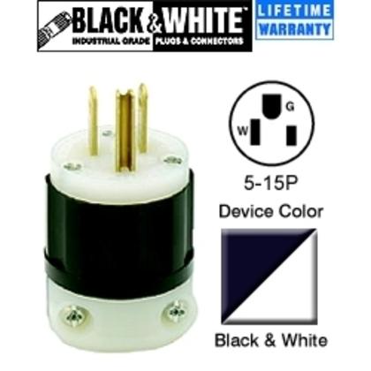 15 Amp Plug, 125V, 5-15P, Nylon, Black/White, Industrial Grade