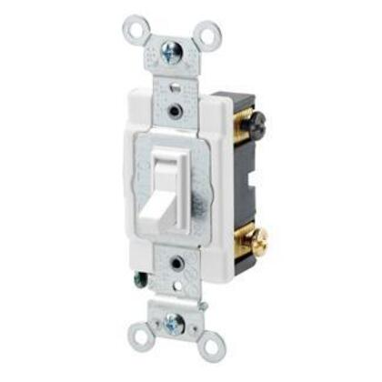 4-Way Switch, Framed Toggle, 15A, 120/277V, White, Side Wired