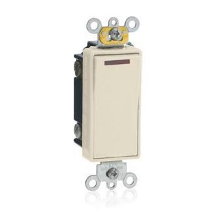 1-Pole Decora Pilot Switch, 20A, 120V, 1/2HP, Almond, Lit When ON
