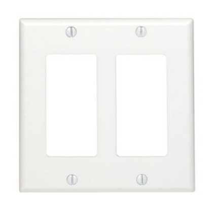 Decora Wallplate, 2-Gang, Nylon, White