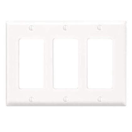 Decora Wallplate, 3-Gang, Thermoset, White