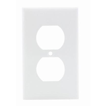 Duplex Receptacle Wallplate, 1-Gang, Nylon, White
