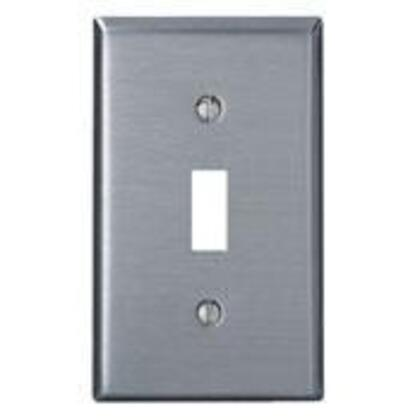 Toggle Switch Wallplate, 1-Gang, 430 Stainless Steel