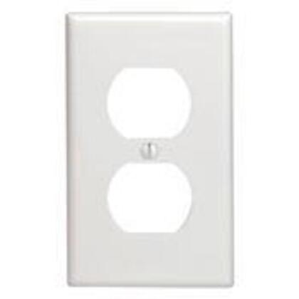 Duplex Receptacle Wallplate, 1-Gang, Thermoset, White