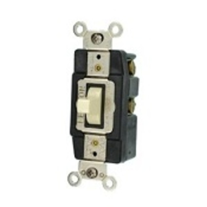 Momentary Toggle Switch, 1-Pole, Double Throw, Center OFF, 20A, Light Almond