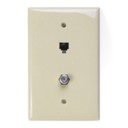 Midsize Telephone/Video Wall Jack, 6P4C x F, ivory